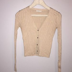Beige Long Sleeve Button Up Sweater Cardigan